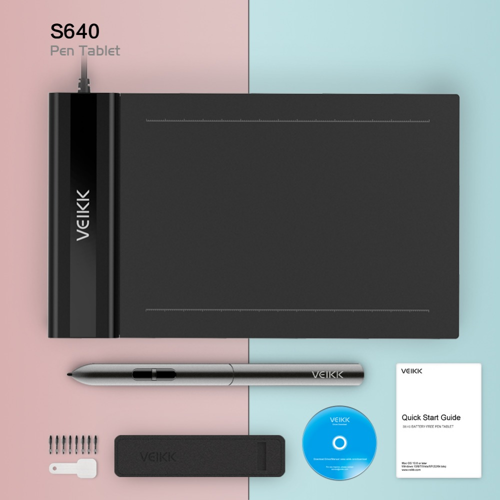 VEIKK S640 Graphics Drawing Tablet OSU 6X4 Inch with free Pen Digital Tablet for beginner kids