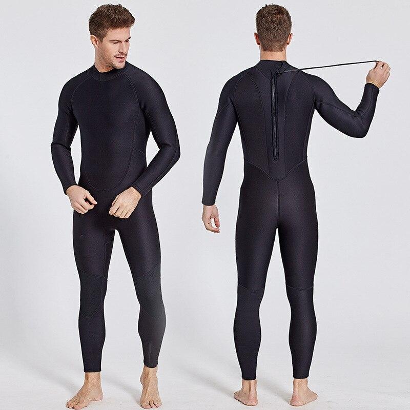 цена на Men's 2mm Neoprene Wetsuit Mens Full Wet Suit Surfing Suit Diving Snorkeling Swimming Jumpsuit One-piece Back Zip Solid Black