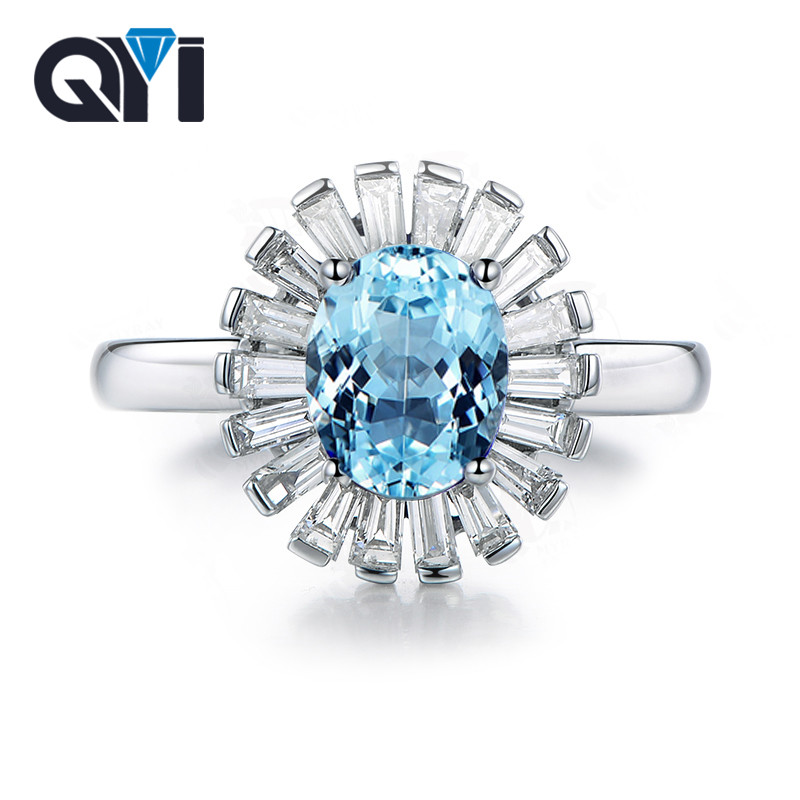 QYI 925 Sterling Silver Topaz Engagement Ring 1.25 ct Oval Cut Gemstone Jewelry for Women Natural Sky Blue Topaz Wedding Rings