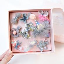 Kids 10 Pcs/Set Gift Box Hair Clips Girls Laser Sequin Barrette Children Party Bling Hair Accessories Hairclip Cute Hairpins mini hat lace flower kids girls hair clips barrette style accessories for children hair hairclip ornaments hairpins head gifts
