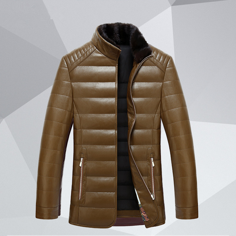 YuWaiJiaRen Men's Winter Faux Leather Jacket Men Stand Collar Solid Thick Warm Casual Striped Fashion Slim Outwear Jackets hanqiu leather jacket men winter autumn pu faux leather solid jackets slim fit zipper pocket stand collar casual men jacket