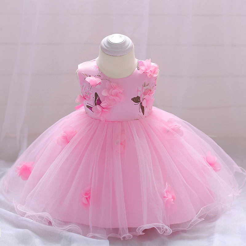 Cute Baby Girl Dress Summer 2018 Flower Baby 1st Birthday Wedding Party Dress Christening Dress for Baby Girls Clothes Vestidos cute summer dress for girls new fashion kid baby girl sleeveless rose flower printed dresses striped casual party dress vestidos