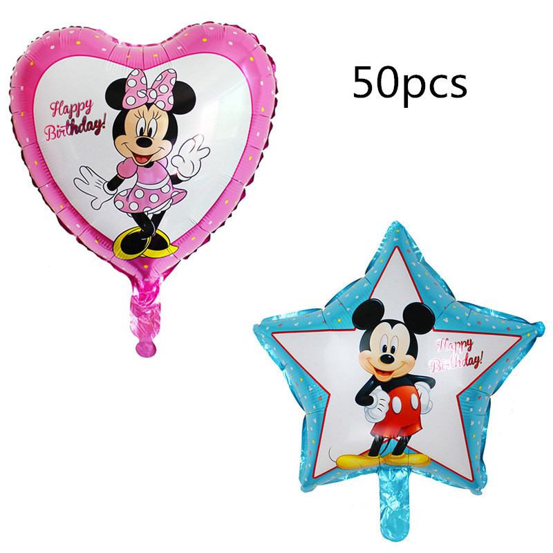 50 pcs 45*45cm mickey minnie mouse star heart foil balloons lot helium latex baby shower birthday party decor supplies