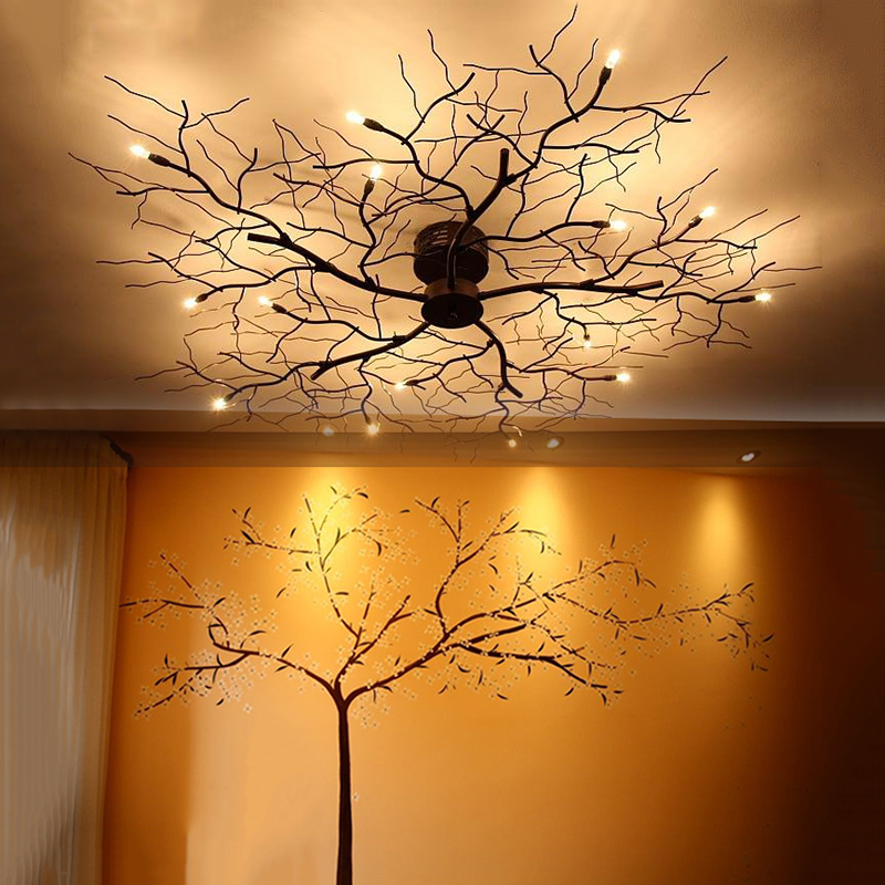 Candid 8/10/12/15/20 Led Ceiling Lights American Country Branch Lustre Iron Ceiling Lamp Living Room Home Decor Lighting Fixtures