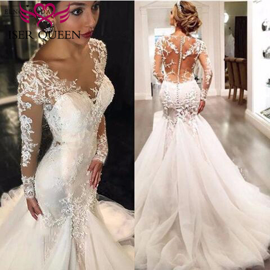 V Neck Embroidery Appliques Sexy Wedding Gown Long Sleeves Illusion Lace Tassel Lace Vintage Mermaid Wedding Dress  W0037