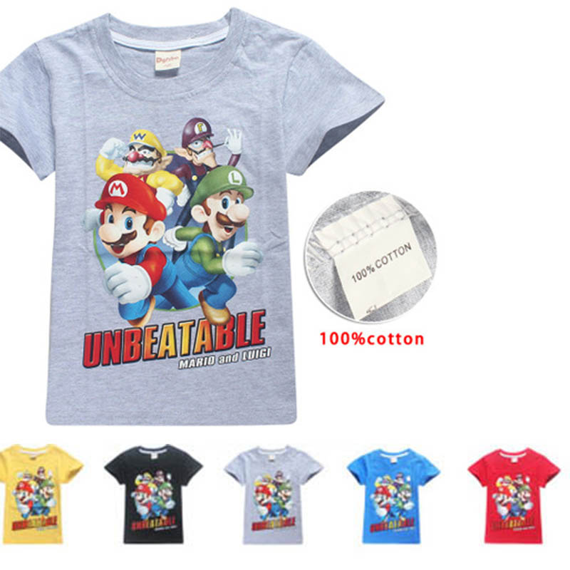 100%Cotton New 2018 Children Cartoon Super Mario And Luigi Short Sleeve T-shirt For Boy Girl Tshirt Clothes Kid Tee Tops Costume