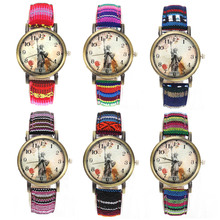 Statue of Liberty Denim Fabric Band Multicolor Canvas Strap Cloth Belt Fashion Unisex Quartz Wrist Watch