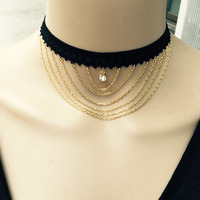 Europe Jewelry Ladies Lace Rhinestone Crystal Chain Dresses Decorations Plated-gold Elegant long tassel necklaces & pendants