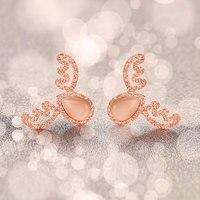 18kgp gül titanium çelik antlers opal saplama küpe moda marka takı kadınlar ücretsiz kargo (ge019)