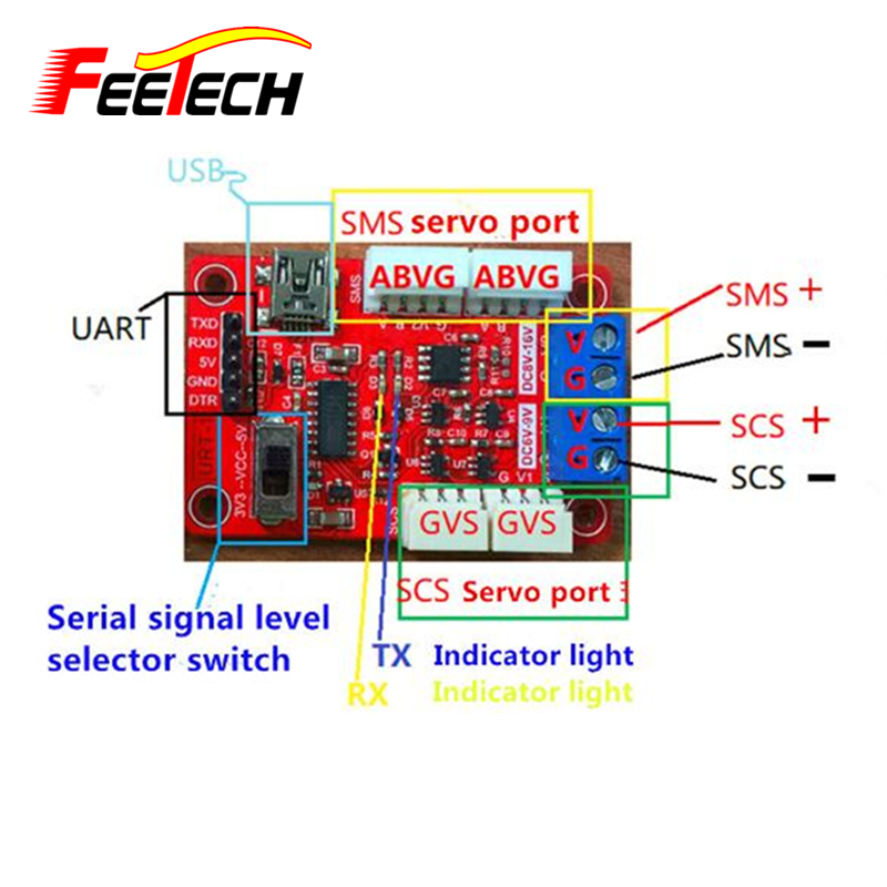 Multi function serial port signal converter USB/URAT to SMS (RS485) &SCS (TTL) 1 port rs232 rs485 to 4 port rs485 serial port hub