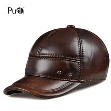 цена на HL102  genuine leather men baseball cap hat CBD high quality  men's real leather adult solid adjustable hats caps