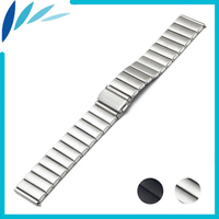 Stainless Steel Watch Band 22mm 24mm For MK Folding Clasp Strap Loop Wrist Belt Bracelet Black