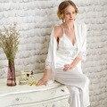 Pijamas de seda Para As Mulheres Nobres vestes brancas Rendas Conjuntos de Pijama De Seda Das Senhoras Sleepwear 3 Picecs/Set