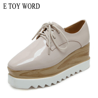 Simple Plain Concise Women Oxfords Preppy Style Girl Casual Platform Flat Heel Shoes Creepers Vinyl Glossy
