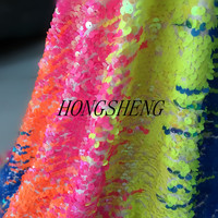 1yard/lot rainbow colour embroidery sequins fabric mulitcolor fashion dress DIY handmade cloth accessories