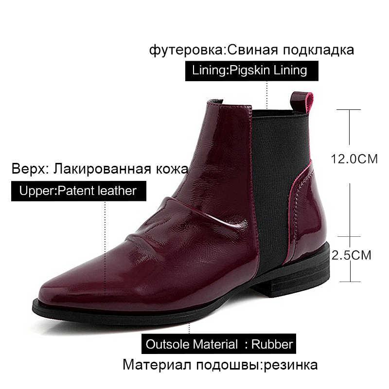 Donna-in düz hakiki deri çizmeler sonbahar kış 2020 kadın yarım çizmeler pilili sivri burun Chelsea çizmeler Cossacks kadın ayakkabısı