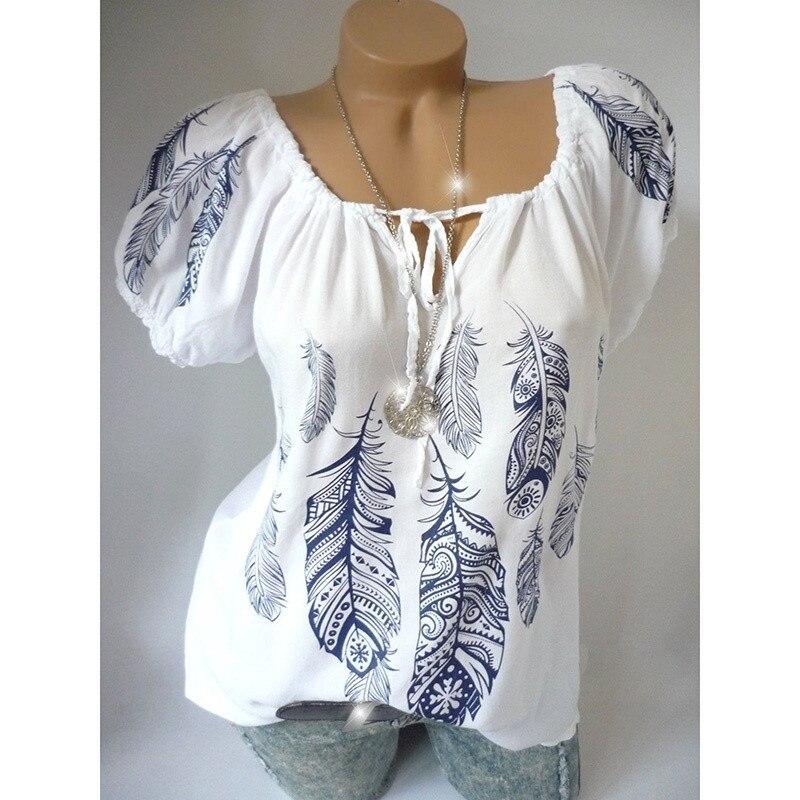 Summer Women V-neck Shirts Print Tops Short Sleeve Tunic Blouse Print Shirts Plus Size Chiffon Tops blouse