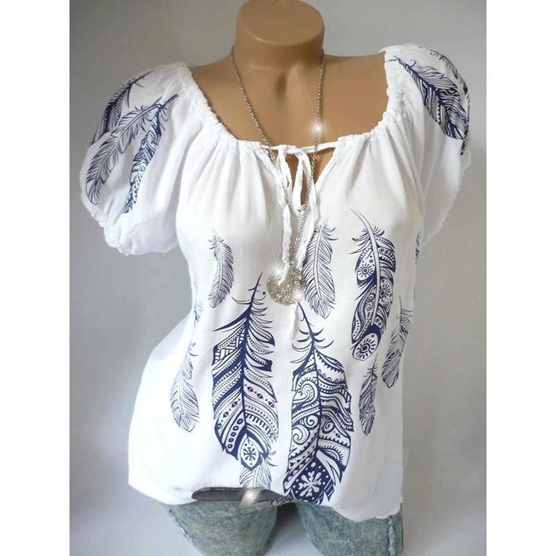Летние женские рубашки с v-образным вырезом Топы с принтом туника с коротким рукавом Блузка Рубашки с принтом Большие размеры Шифоновые Топы