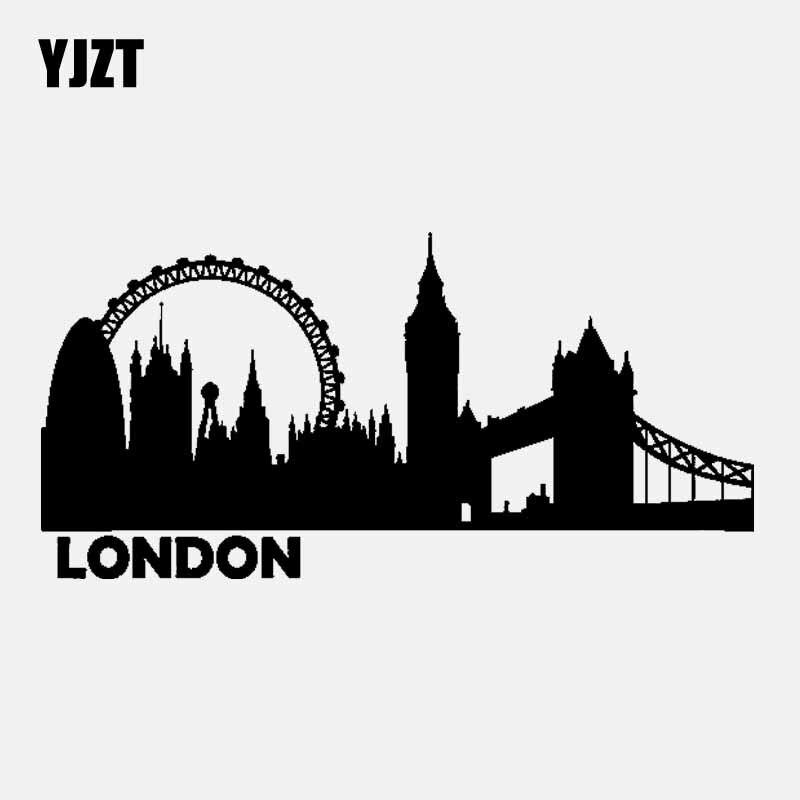 YJZT 19.7CM*9.6CM LONDON City Silhouette Skyline Vinyl Car Sticker Decal Black/Silver C3-1829
