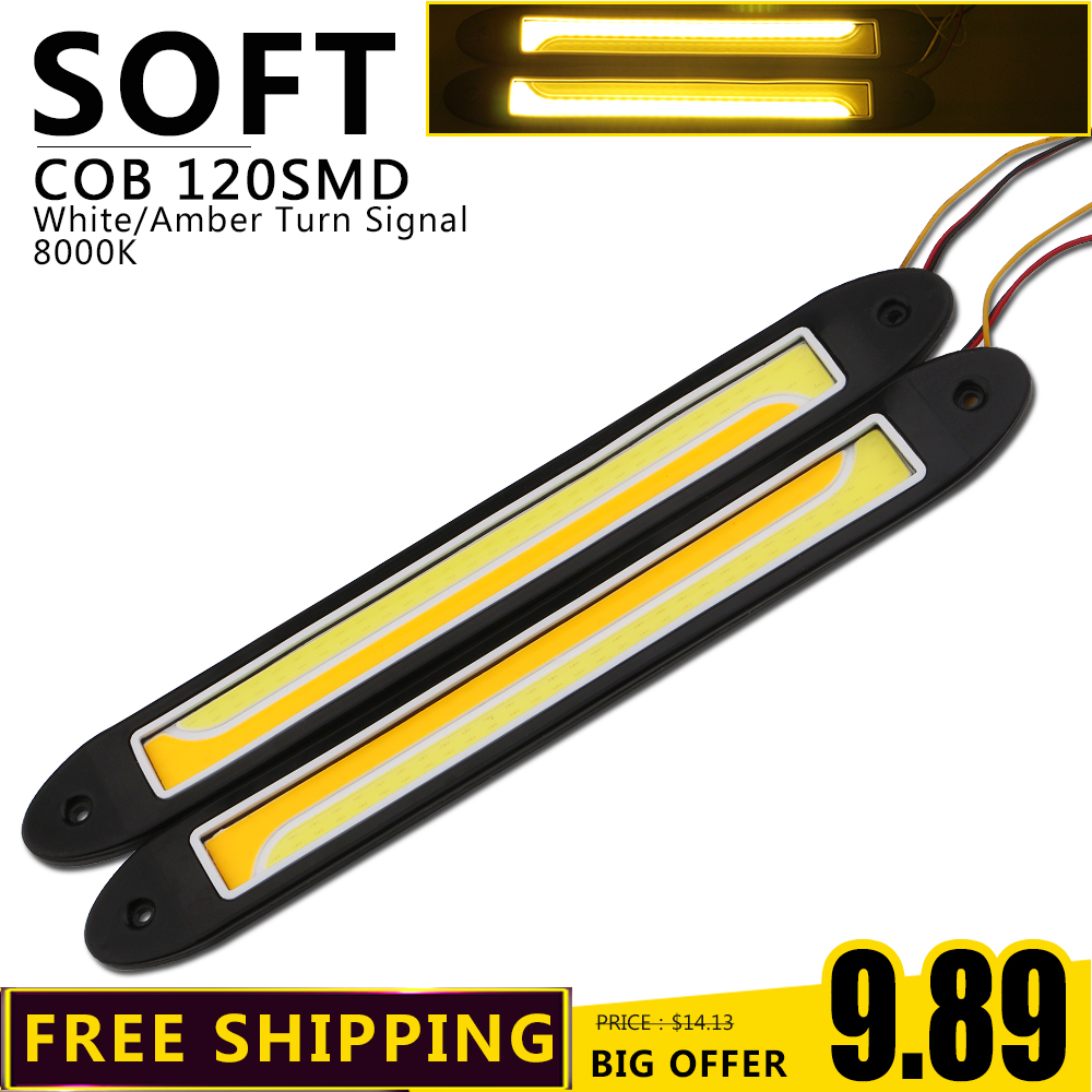 Free Shipping!!! 1 Pair Car COB Daytime Running Lights Fog Lights Flexible DIY DRL Silicone IP67 Waterproof Led With Turn Signal flexible bandable straight line cob drl daytime running lights dc12v 16w high power white e4 waterproof car fog lights