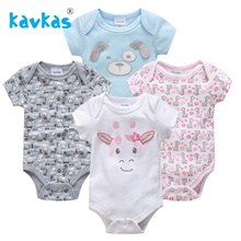 Kavkas/Детские комбинезоны для девочек с короткими рукавами; сезон лето; 4 шт./лот; костюм для улицы; Комбинезоны для маленьких девочек; Recien Nacido