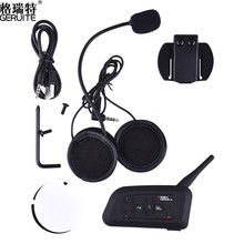 GERUITE V4 BT 1200M Moto Intercom Bluetooth Auriculares stereo Interphone Interfono with FM Radio for 4 Riders Headset,