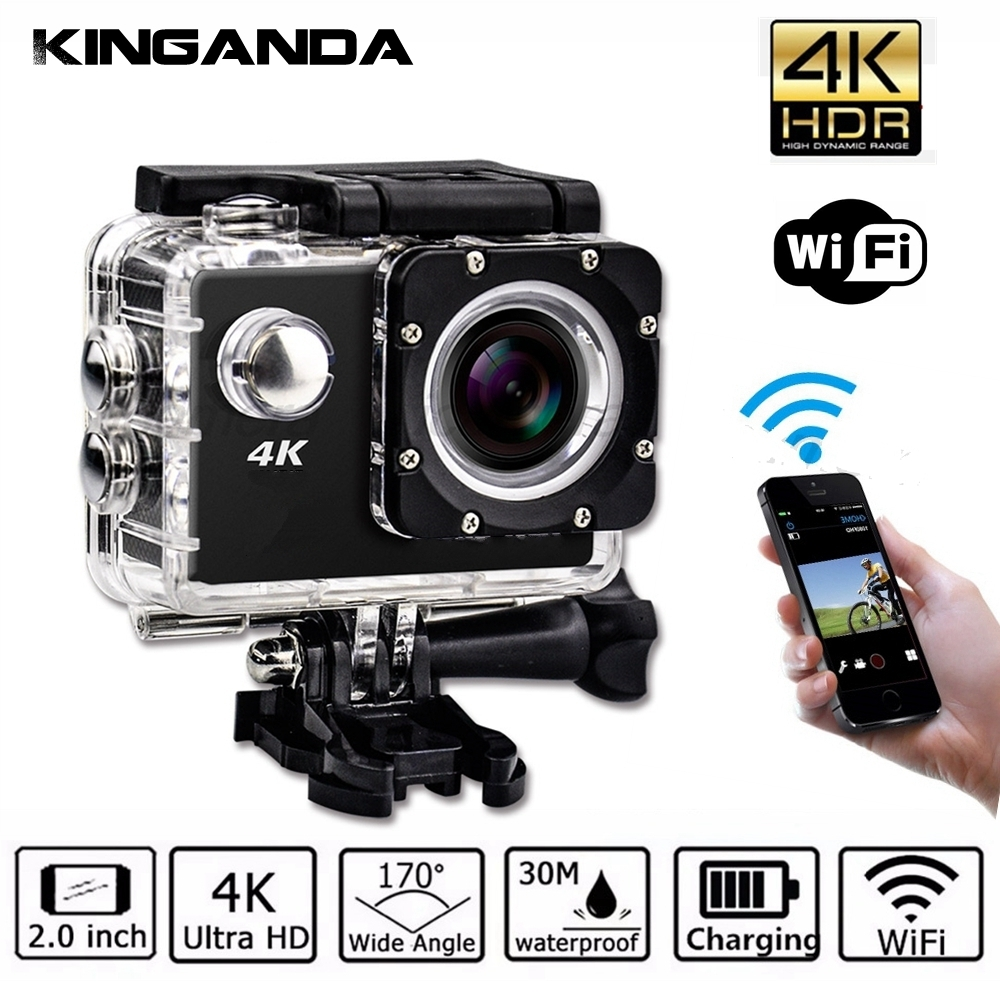 Waterproof Ultra HD 4K UHD Action Sport Video Camera WiFi Camcorder FHD 1080P DV Cam Wide Angle Go Deportiva 2 inch LCD Pro 32G ultra hd 4k action camera wifi camcorders 16mp 170 go cam 4 k deportiva 2 inch f60 waterproof sport camera pro 1080p 60fps cam