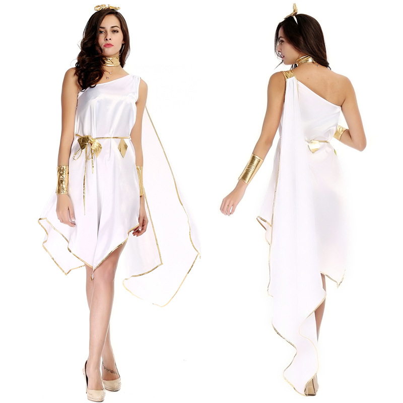 Fantasias Halloween Greek Goddess Dress White One Shoulder Sleeveless Fancy Dress Egyptian Queen Cleopatra Masquerade Costumes