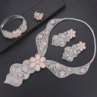 Siscathy 4 шт. роскошный большой цветок Лариат для женщин Свадебные кубического циркония платье Лариат цепочки и ожерелья Серьги Дубай себе