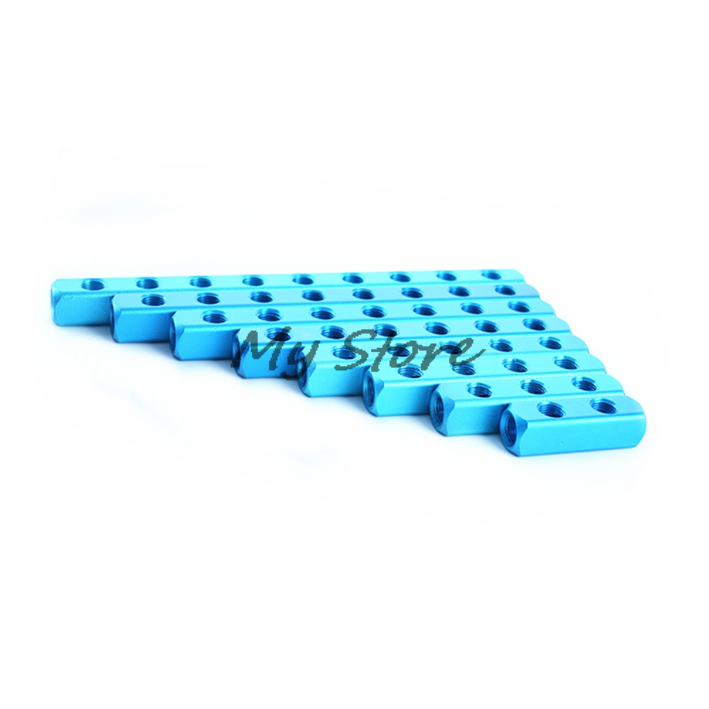 1Pcs Pneumatic fittings 1/4 PT  Thread 2 3 4 5 6 7 8 9 Way Quick Connector Air Hose Manifold Block Splitter Blue 9 pcs 3 8 pt male thread 8mm push in joint pneumatic connector quick fittings