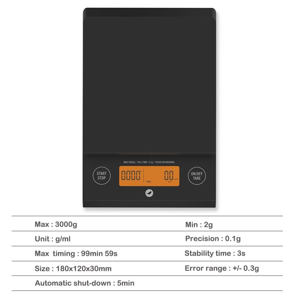 Balance électrique domestique 3 kg/0.1g balance à café amovible Double bouton avec minuterie de LED balance de cuisine numérique électronique - 5
