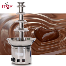 ITOP High Quality 4/5/6/7 Layers Chocolate Fountains Machine Stainless Steel Chocolate Melting Cooker Commercial 110V/220V/240V