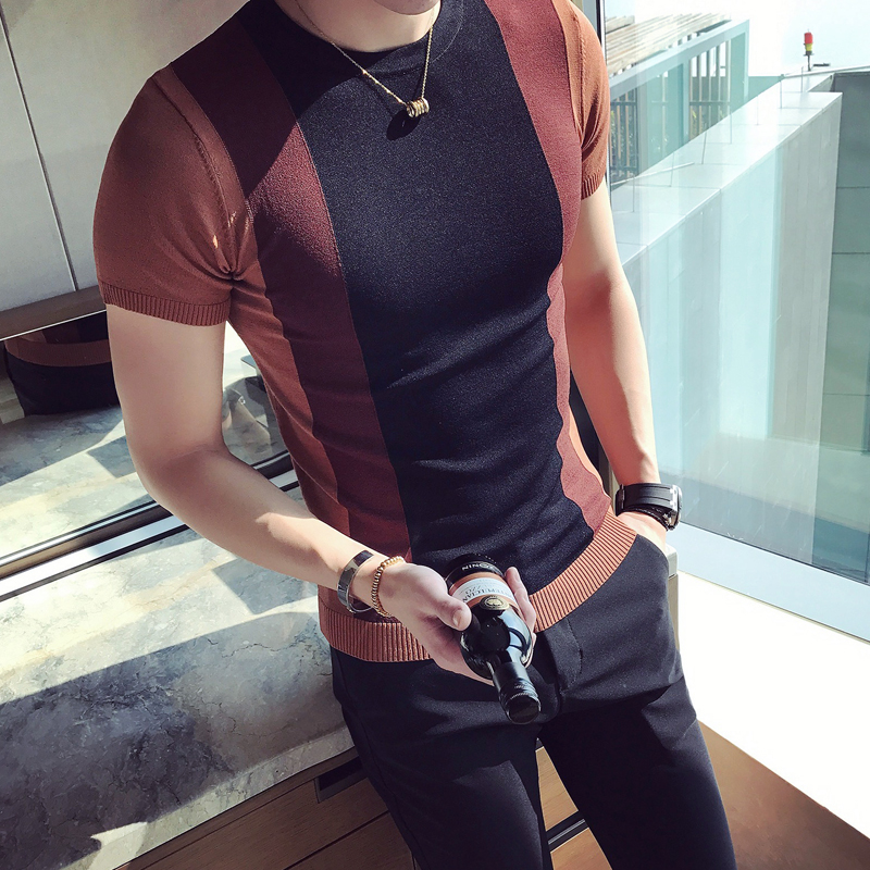 Summer men's short sleeve T-shirt Korean version of the men hit the color tight knit T-shirt British trend of young people half-
