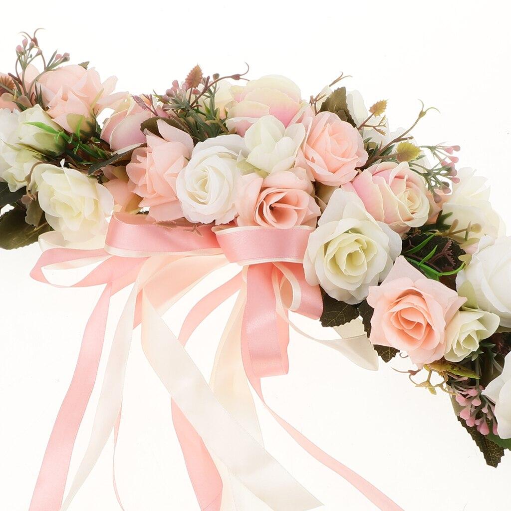 Simulation Rose Flower Chair Back Window Mirror Wall Door Wreath Garland Hanging Wedding Decorations