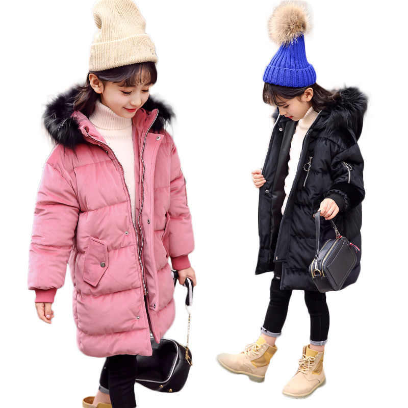 2018 New Winter Warm Thick Jackets Girls Coat Kids Fur Hooded Pleuche Cotton Padded Down Jackets Long Fashion Winter Clothes high quality new winter jacket parka women winter coat women warm outwear thick cotton padded short jackets coat plus size 5l41