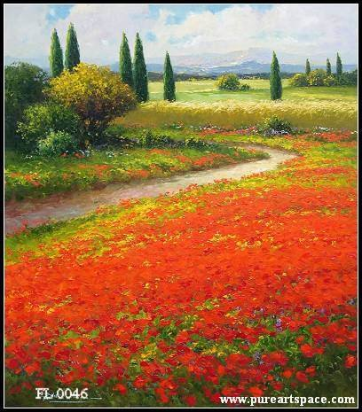 Dipinta a mano Toscana paesaggio pittura a olio fiori rossi campo di ...
