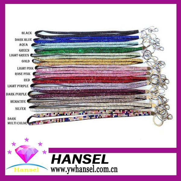 50% OFF Discount 36cm (14.2 inch) Folded Free ship crystal lanyard rhinestone decorative neck bling lanyard strap Mix color