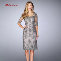 Grey Lace Mother of the Bride Dresses for Weddings with Sleeves Knee Length Bridal Formal Godmother Groom Dresses