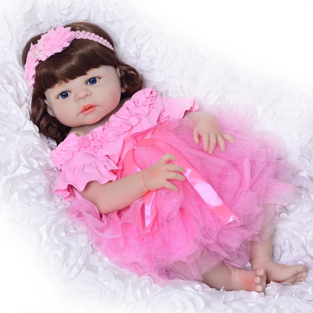 New Arrival Full Silicone Vinyl 23 Reborn Dolls Soft Realistic Newborn Doll Princess Baby Reborn Boneca Girl Toy Birthday Gifts подушка декоративная рапира игривые котята в корзине 35 х 90 см