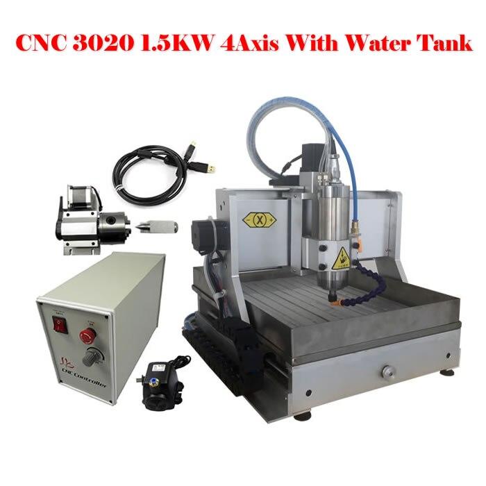 1500 watt wasserkühlung spindel cnc-fräsermaschine cnc 3020 4 achsen graviermaschine mit wassertank 110 v/220 v