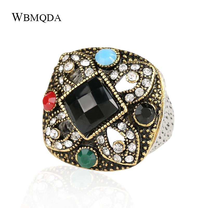 Turkey Vintage Look Bohemian Resin Rings For Women Malachite Stone Tibet Alloy Antique Silver Plated Fine Jewelry