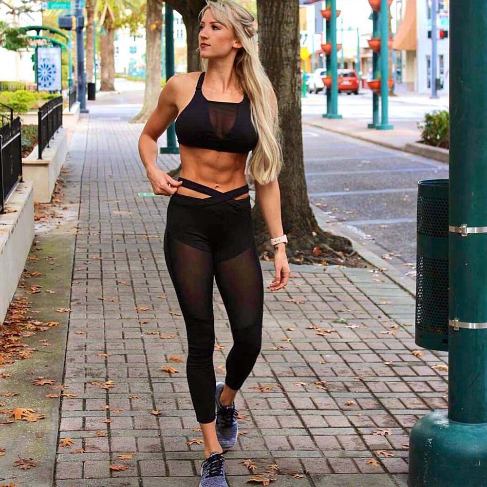 Women Sexy Patchwork Mesh Splice Cross Strap Tops Vest + sports trousers Pants Femme Set flexible track Sweatpants  Sportswear