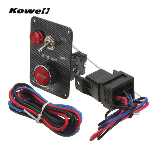 KOWELL 12V Ignition Switch Panel Kit LED Light Toggle Engine Start Push  Button for Racing Car Starter Boat Carbon Fiber Pattern-in Car Switches &