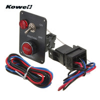 KOWELL 12V Ignition Switch Panel Kit LED Light Toggle Engine Start Push Button For Racing Car