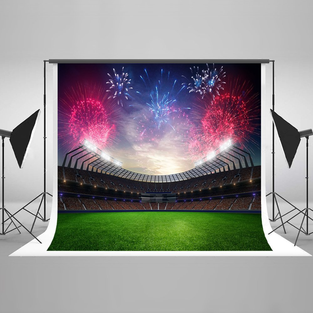 Night football field stadium sunset fireworks grass soccer Backgrounds Vinyl cloth High quality Computer print wall backdrops