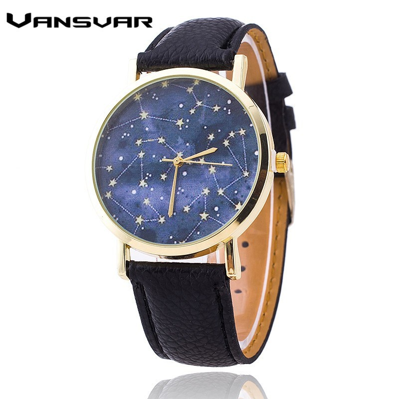 Vansvar Fashion Stars Leather Quartz Watch Casual Women Constellations Wrist Watch Relogio Feminino Clock Gift 1765 vansvar brand fashion casual relogio feminino vintage leather women quartz wrist watch gift clock drop shipping 1903