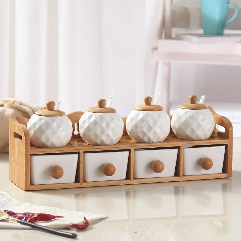 Pot en verre pot de sel évidé baguettes baril bambou cadre en bois assaisonnement boîte en céramique réservoir mason pots de miel pour épices