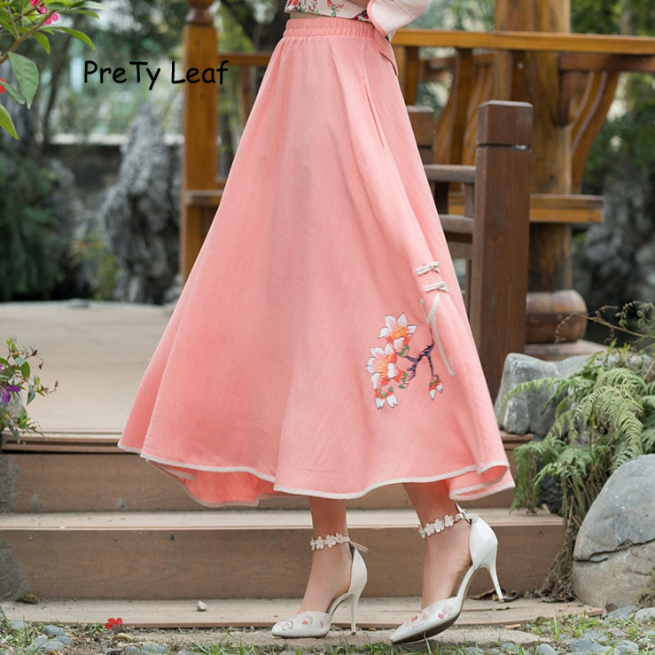 2018 spring and summer new high waist cotton and linen printed skirts