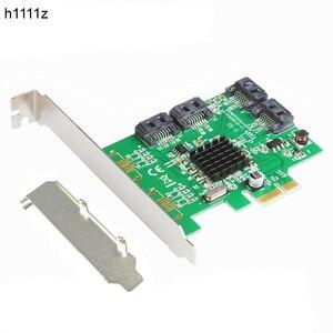 Карта SATA PCI-e, 4 порта, 6G SATA III 3,0, контроллер, карта marvl 88SE9215, без Raid PCIE 2,0x1, Расширительная карта, низкопрофильная кронштейн