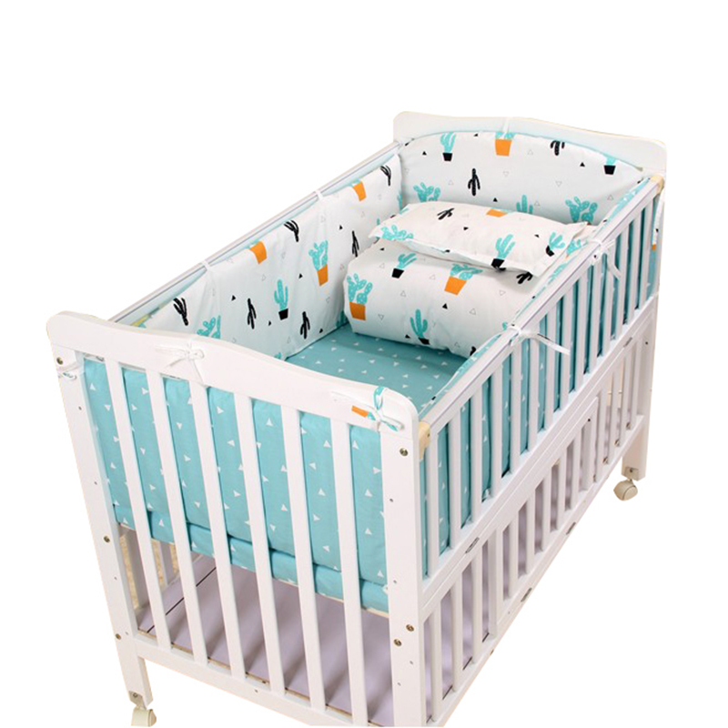 3 to 7Pcs Cotton Baby Bedding Set Cactus Pattern Baby Bed Linen For Newborns Baby Sheet Bumpers Pillowcase Duvet Cover